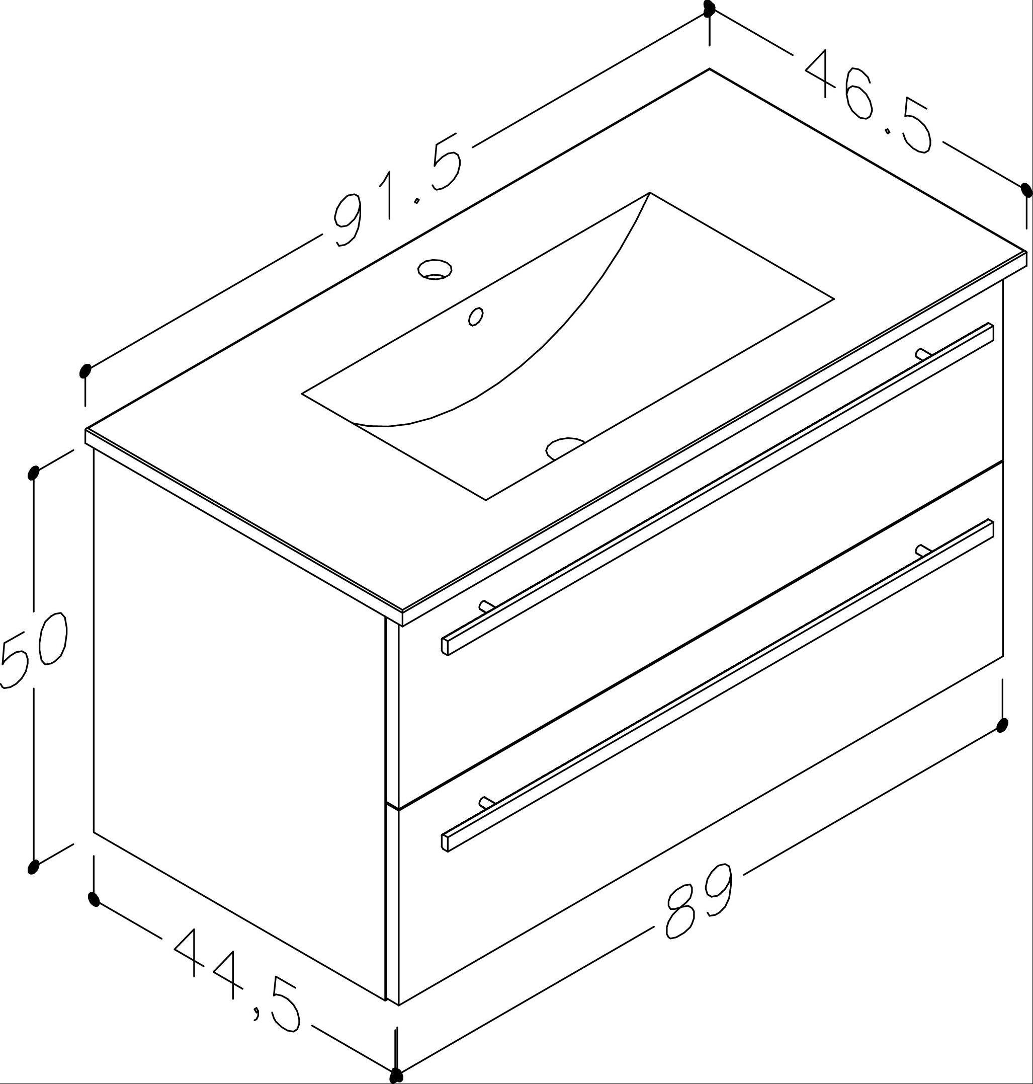 Bad Waschtischunterschrank mit Keramik-Waschtisch Serena 91 Weiß glänzend Bild 2