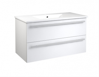 Bad Waschtischunterschrank mit Keramik-Waschtisch Serena 91 Weiß glänzend Bild 1