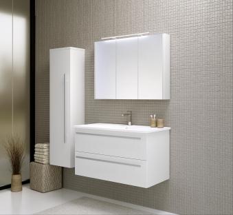 Bad Waschtischunterschrank mit Keramik-Waschtisch Serena 91 Weiß glänzend Bild 4