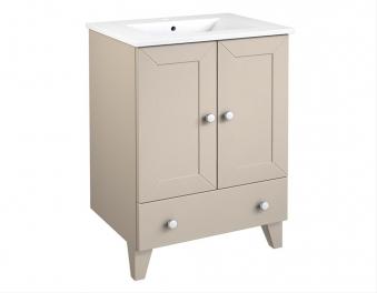 Bad Waschtischunterschrank mit Keramik-Waschtisch Siesta 61 Kaschmir grau Bild 1