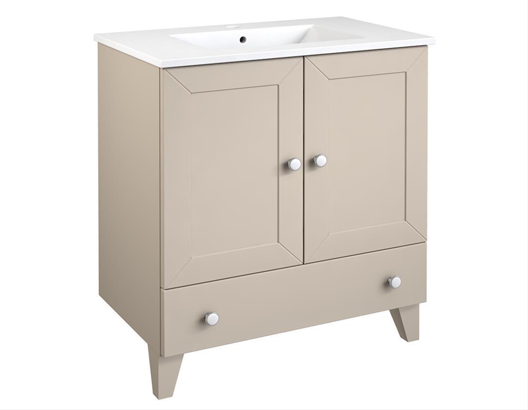 Bad Waschtischunterschrank mit Keramik-Waschtisch Siesta 76 Kaschmir grau Bild 1