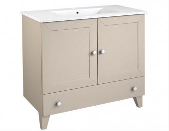 Bad Waschtischunterschrank mit Keramik-Waschtisch Siesta 91 Kaschmir grau Bild 1