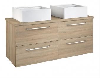 Bad Waschtischunterschrank mit Waschtischplatte und 2 eckigen Aufsatzbecken Luna 120 Eiche bardolino Bild 1