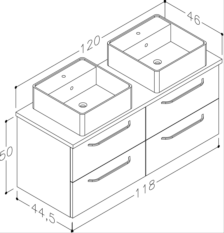 Bad Waschtischunterschrank mit Waschtischplatte und 2 eckigen Aufsatzbecken Luna 120 Weiß glänzend/Eiche schwarz Bild 2