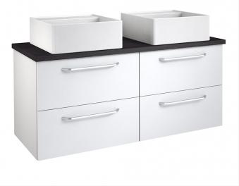 Bad Waschtischunterschrank mit Waschtischplatte und 2 eckigen Aufsatzbecken Luna 120 Weiß glänzend/Eiche schwarz Bild 1