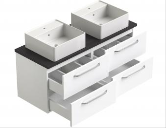 Bad Waschtischunterschrank mit Waschtischplatte und 2 eckigen Aufsatzbecken Luna 120 Weiß glänzend/Eiche schwarz Bild 3