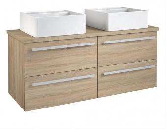 Bad Waschtischunterschrank mit Waschtischplatte und 2 eckigen Aufsatzbecken Serena 120 Eiche bardolino Bild 1