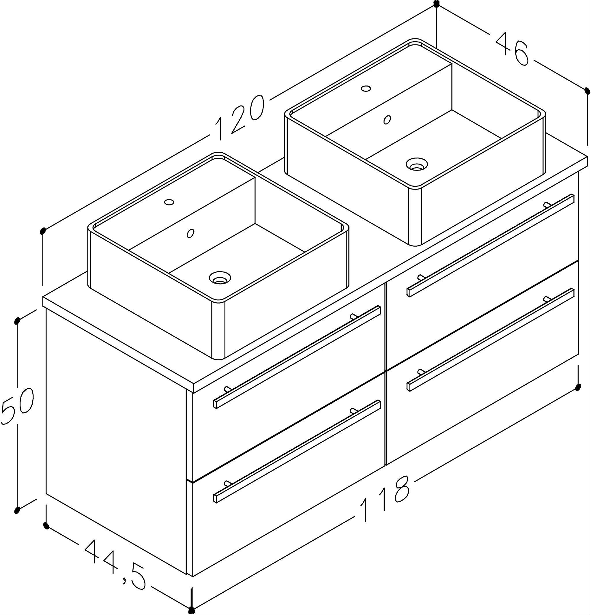 Bad Waschtischunterschrank mit Waschtischplatte und 2 eckigen Aufsatzbecken Serena 120 Weiß glänzend/Eiche bardolino Bild 2