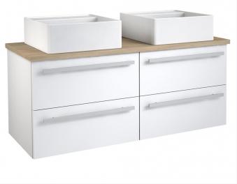 Bad Waschtischunterschrank mit Waschtischplatte und 2 eckigen Aufsatzbecken Serena 120 Weiß glänzend/Eiche bardolino Bild 1