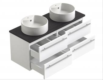 Bad Waschtischunterschrank mit Waschtischplatte und 2 eckigen Aufsatzbecken Serena 120 Weiß glänzend/Eiche bardolino Bild 3