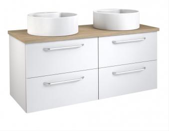 Bad Waschtischunterschrank mit Waschtischplatte und 2 runden Aufsatzbecken Luna 120 Weiß glänzend/Eiche bardolino Bild 1