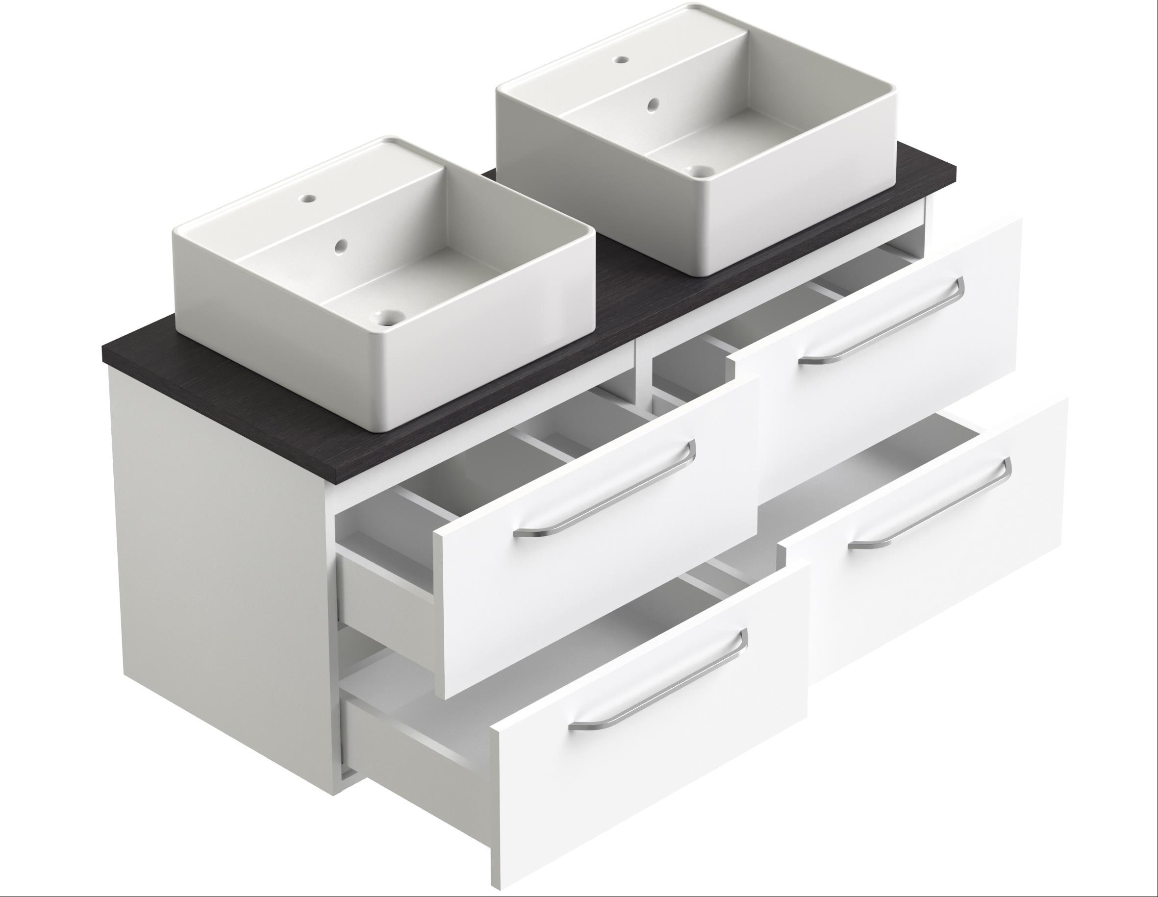 Bad Waschtischunterschrank mit Waschtischplatte und 2 runden Aufsatzbecken Luna 120 Weiß glänzend/Eiche schwarz Bild 3