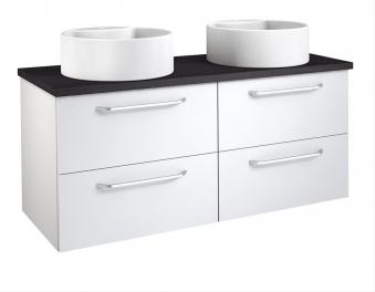 Bad Waschtischunterschrank mit Waschtischplatte und 2 runden Aufsatzbecken Luna 120 Weiß glänzend/Eiche schwarz Bild 1