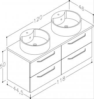 Bad Waschtischunterschrank mit Waschtischplatte und 2 runden Aufsatzbecken Luna 120 Weiß glänzend/Eiche schwarz Bild 2