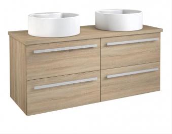 Bad Waschtischunterschrank mit Waschtischplatte und 2 runden Aufsatzbecken Serena 120 Eiche bardolino Bild 1