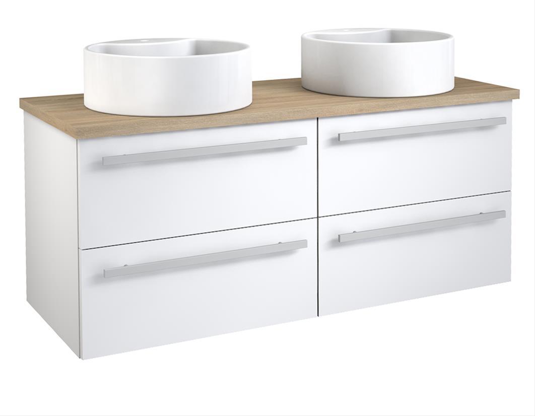 Bad Waschtischunterschrank mit Waschtischplatte und 2 runden Aufsatzbecken Serena 120 Weiß glänzend/Eiche bardolino Bild 1