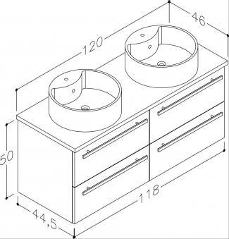 Bad Waschtischunterschrank mit Waschtischplatte und 2 runden Aufsatzbecken Serena 120 Weiß glänzend/Eiche bardolino Bild 2