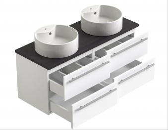 Bad Waschtischunterschrank mit Waschtischplatte und 2 runden Aufsatzbecken Serena 120 Weiß glänzend/Eiche bardolino Bild 3