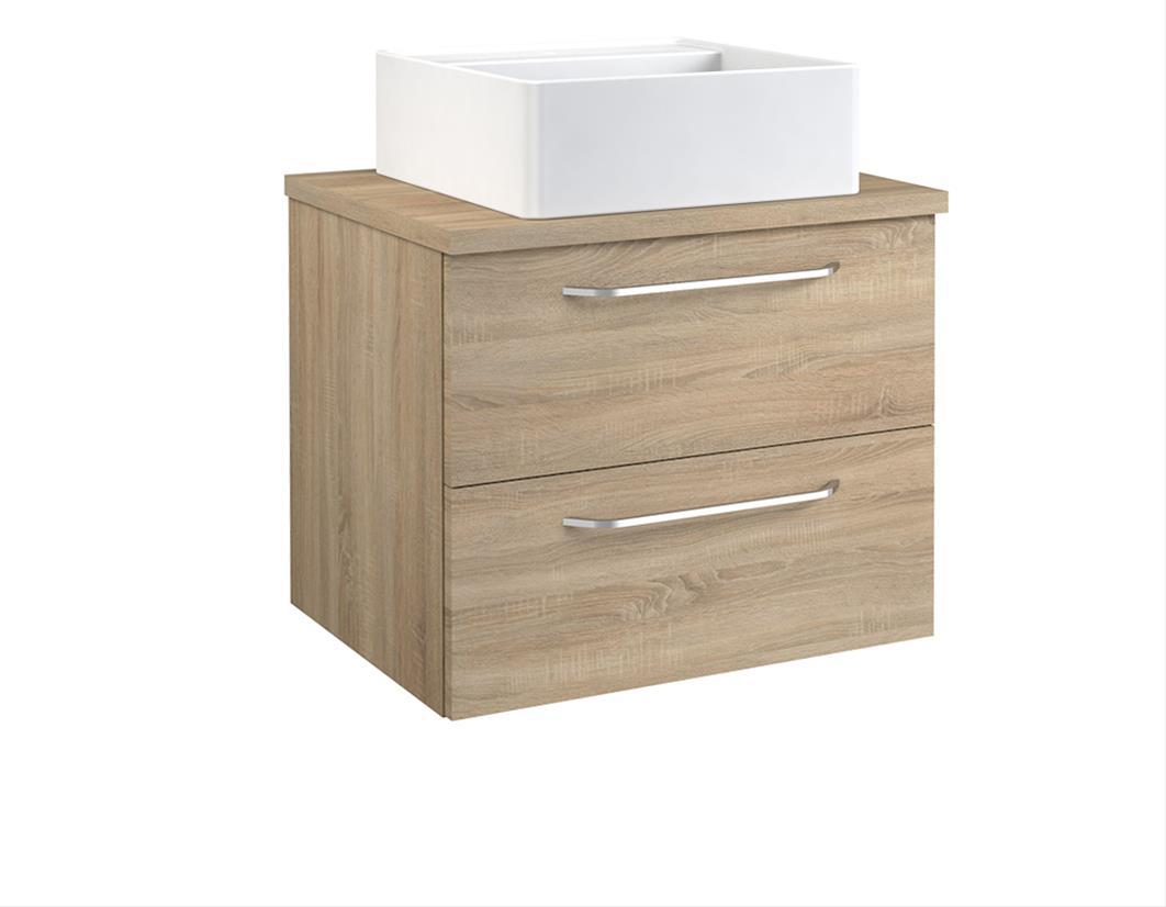 Bad Waschtischunterschrank mit Waschtischplatte und eckigem Aufsatzbecken Luna 60 Eiche bardolino Bild 1