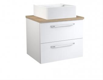 Bad Waschtischunterschrank mit Waschtischplatte und eckigem Aufsatzbecken Luna 60 Weiß glänzend/Eiche bardolino Bild 1