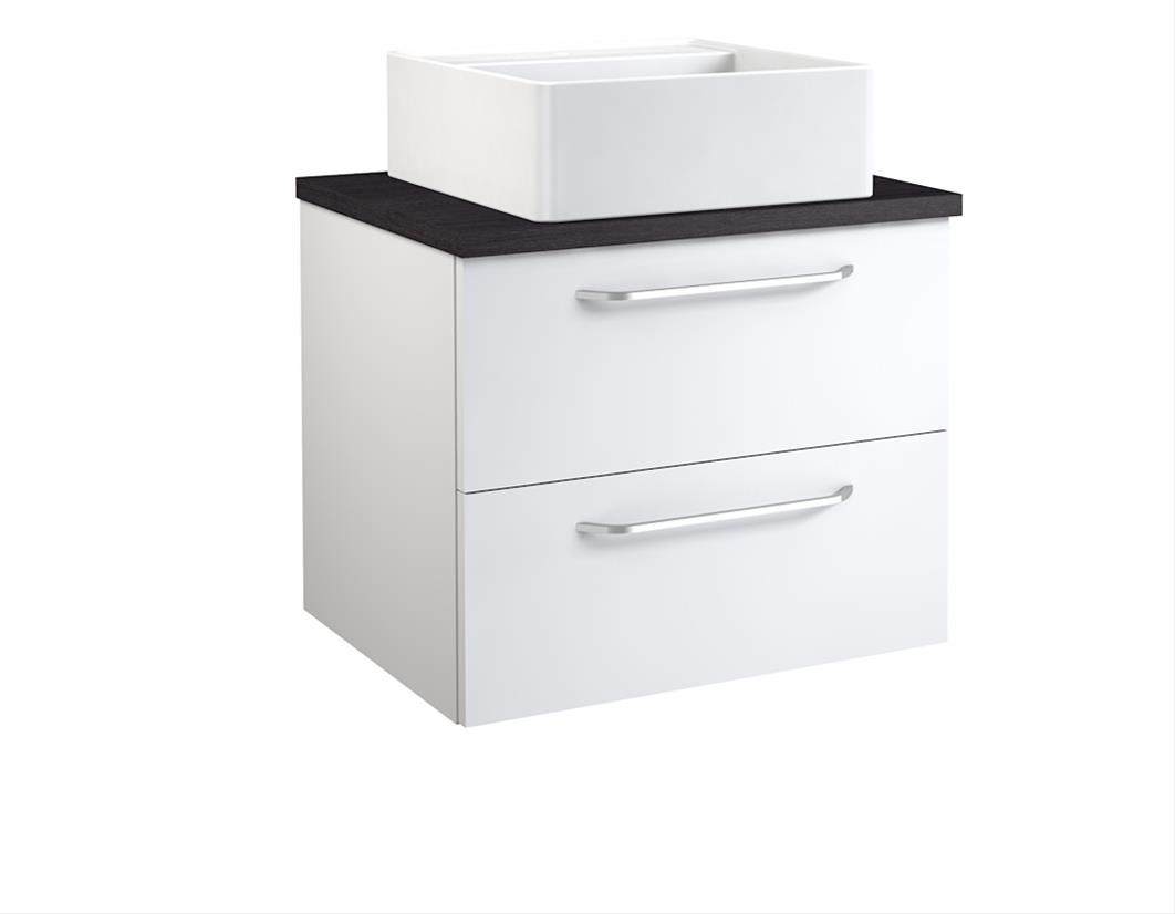 Bad Waschtischunterschrank mit Waschtischplatte und eckigem Aufsatzbecken Luna 60 Weiß glänzend/Eiche schwarz Bild 1