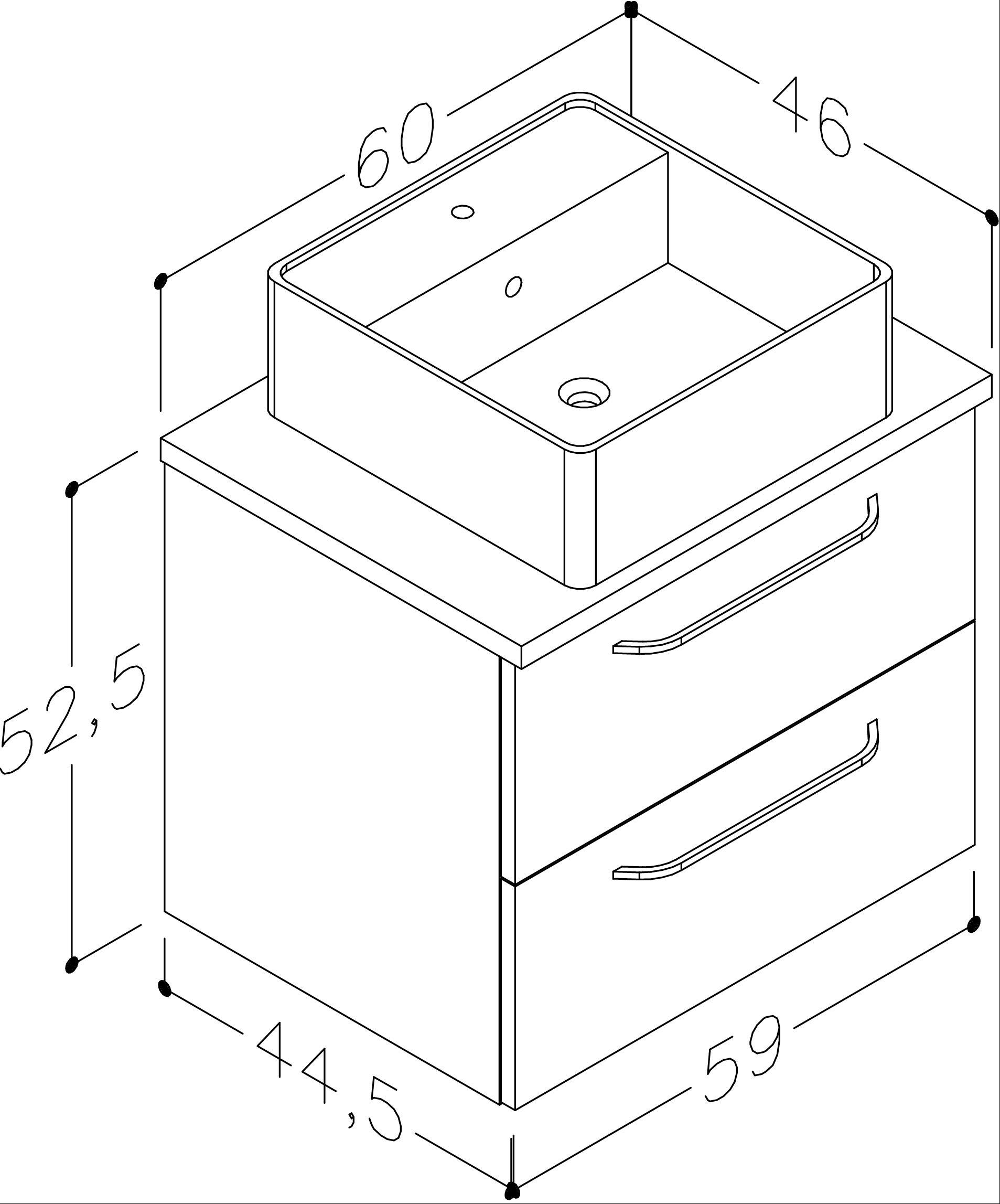 Bad Waschtischunterschrank mit Waschtischplatte und eckigem Aufsatzbecken Luna 60 Weiß glänzend/Eiche schwarz Bild 2