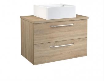 Bad Waschtischunterschrank mit Waschtischplatte und eckigem Aufsatzbecken Luna 75 Eiche bardolino Bild 1