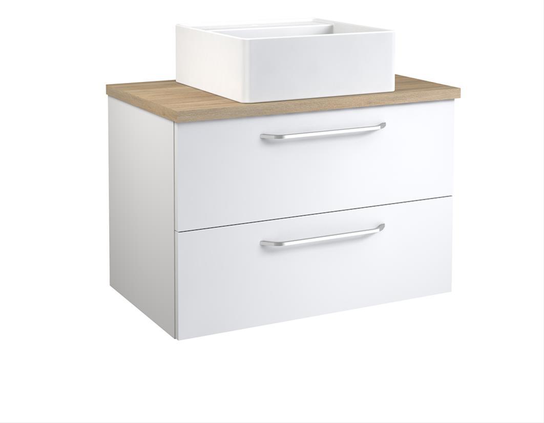 Bad Waschtischunterschrank mit Waschtischplatte und eckigem Aufsatzbecken Luna 75 Weiß glänzend/Eiche bardolino Bild 1