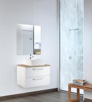 Bad Waschtischunterschrank mit Waschtischplatte und eckigem Aufsatzbecken Luna 75 Weiß glänzend/Eiche bardolino Bild 4