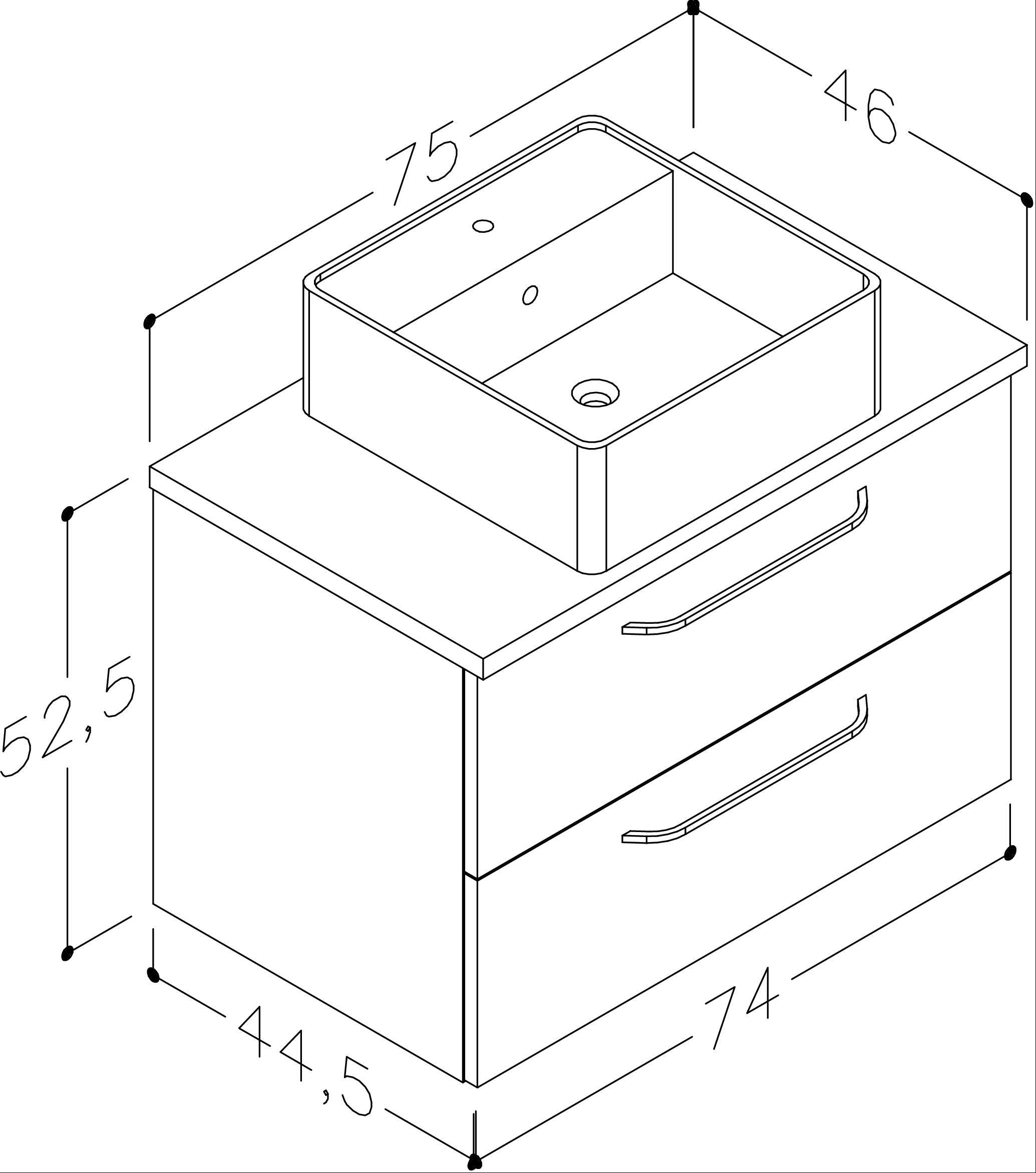 Bad Waschtischunterschrank mit Waschtischplatte und eckigem Aufsatzbecken Luna 75 Weiß glänzend/Eiche schwarz Bild 2