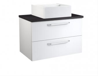 Bad Waschtischunterschrank mit Waschtischplatte und eckigem Aufsatzbecken Luna 75 Weiß glänzend/Eiche schwarz Bild 1