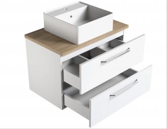 Bad Waschtischunterschrank mit Waschtischplatte und eckigem Aufsatzbecken Luna 75 Weiß glänzend/Eiche schwarz Bild 3