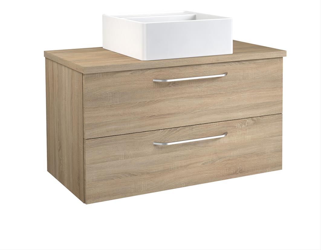Bad Waschtischunterschrank mit Waschtischplatte und eckigem Aufsatzbecken Luna 90 Eiche bardolino Bild 1