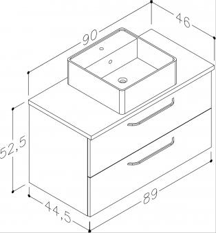 Bad Waschtischunterschrank mit Waschtischplatte und eckigem Aufsatzbecken Luna 90 Eiche bardolino Bild 2