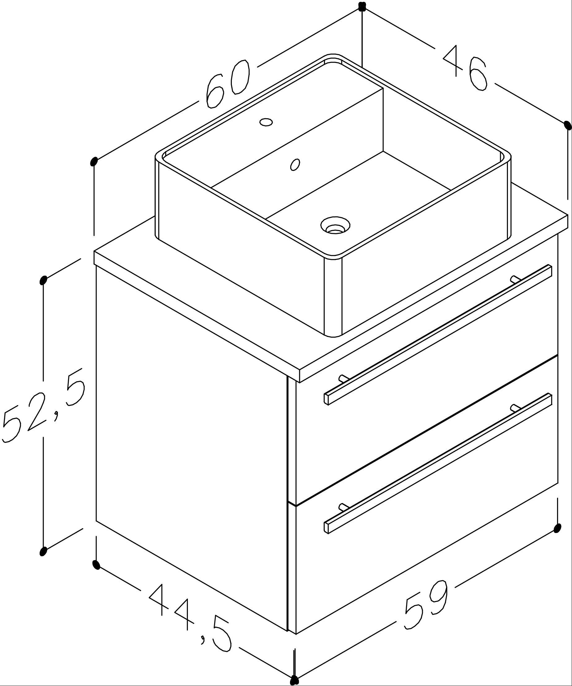 Bad Waschtischunterschrank mit Waschtischplatte und eckigem Aufsatzbecken Serena 60 Weiß glänzend/Eiche bardolino Bild 2