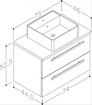 Bad Waschtischunterschrank mit Waschtischplatte und eckigem Aufsatzbecken Serena 75 Weiß glänzend/Eiche bardolino Bild 2