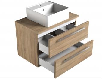 Bad Waschtischunterschrank mit Waschtischplatte und eckigem Aufsatzbecken Serena 75 Weiß glänzend/Eiche bardolino Bild 3