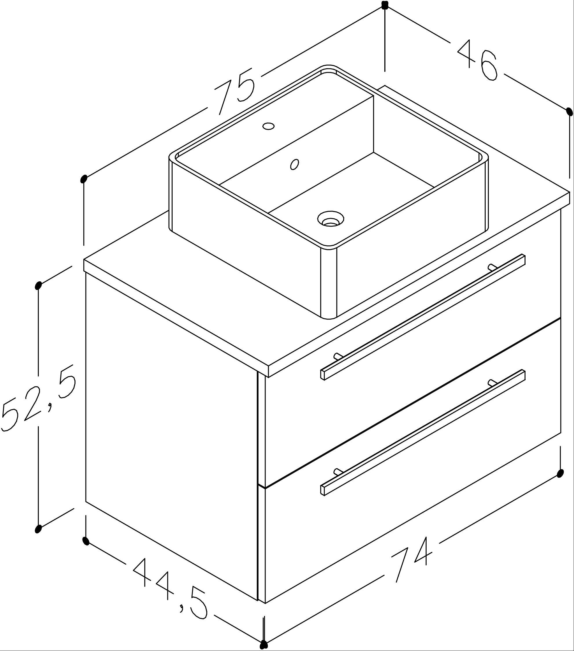 Bad Waschtischunterschrank mit Waschtischplatte und eckigem Aufsatzbecken Serena 75 Weiß glänzend/Eiche schwarz Bild 2