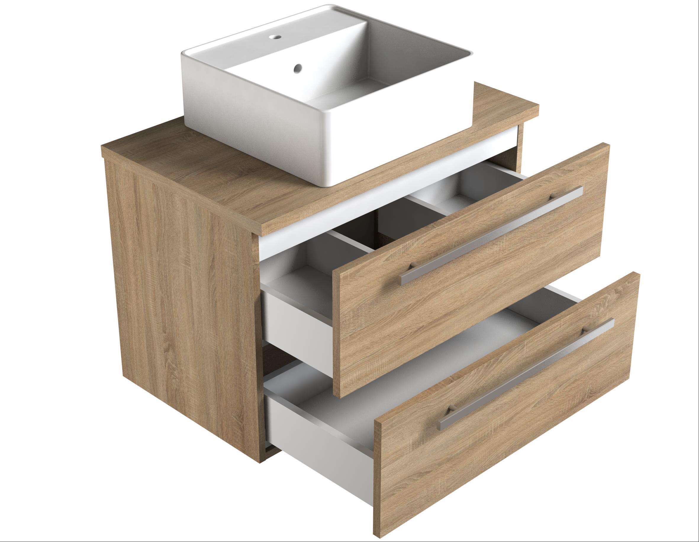 Bad Waschtischunterschrank mit Waschtischplatte und eckigem Aufsatzbecken Serena 75 Weiß glänzend/Eiche schwarz Bild 3