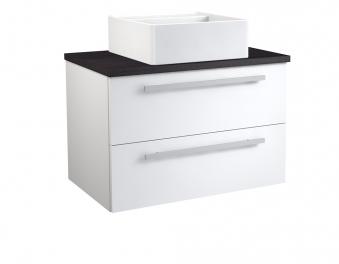Bad Waschtischunterschrank mit Waschtischplatte und eckigem Aufsatzbecken Serena 75 Weiß glänzend/Eiche schwarz Bild 1