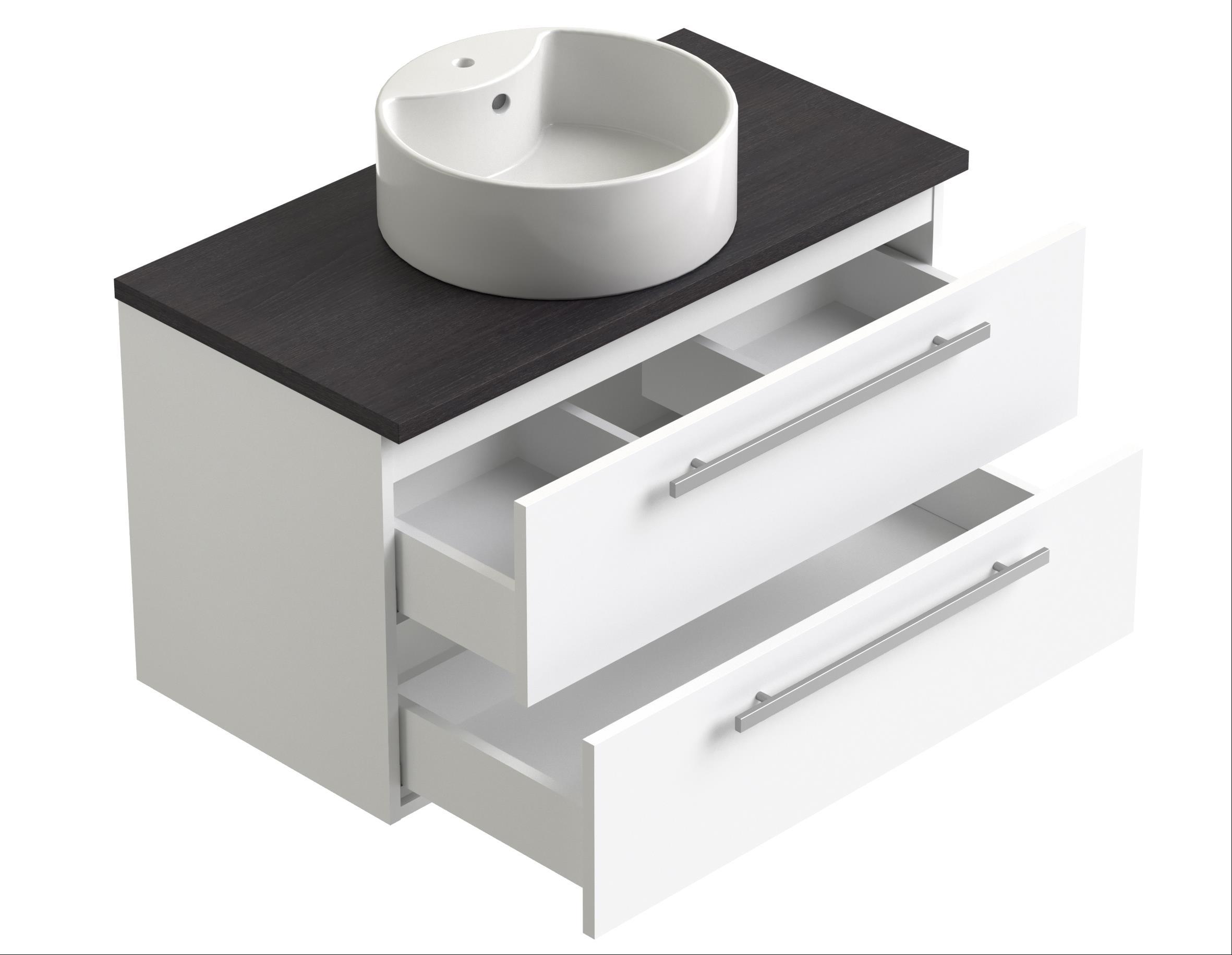 Bad Waschtischunterschrank mit Waschtischplatte und eckigem Aufsatzbecken Serena 90 Eiche schwarz Bild 3