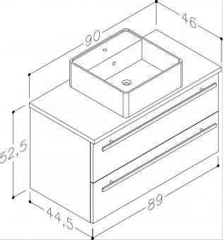 Bad Waschtischunterschrank mit Waschtischplatte und eckigem Aufsatzbecken Serena 90 Eiche schwarz Bild 2