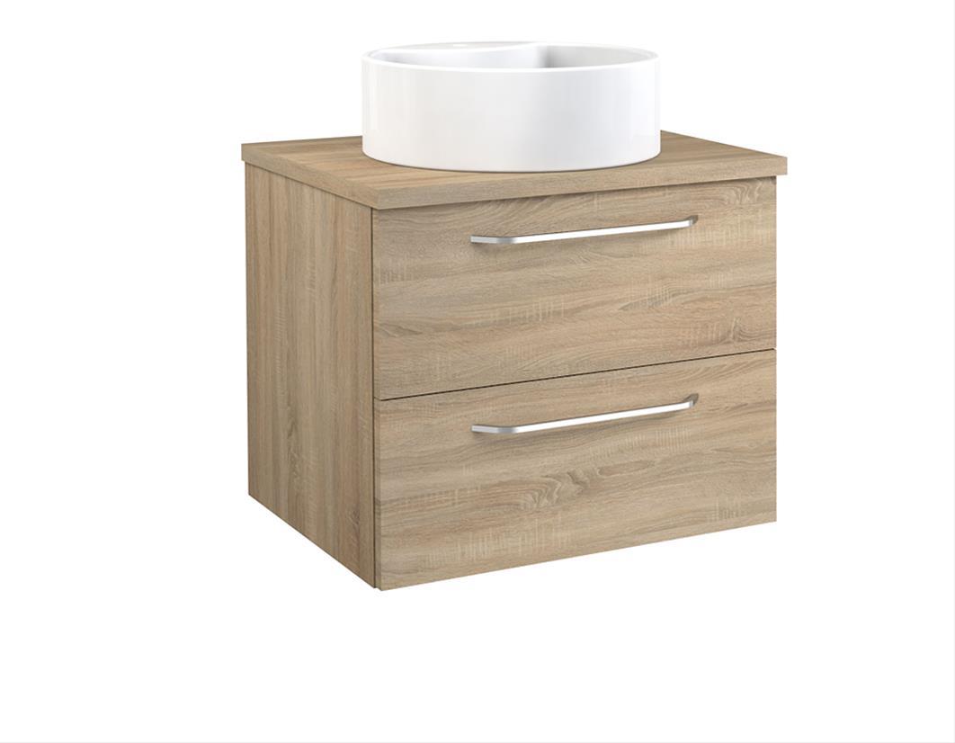 Bad Waschtischunterschrank mit Waschtischplatte und rundem Aufsatzbecken Luna 60 Eiche bardolino Bild 1