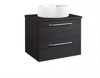 Bad Waschtischunterschrank mit Waschtischplatte und rundem Aufsatzbecken Luna 60 Eiche schwarz Bild 1