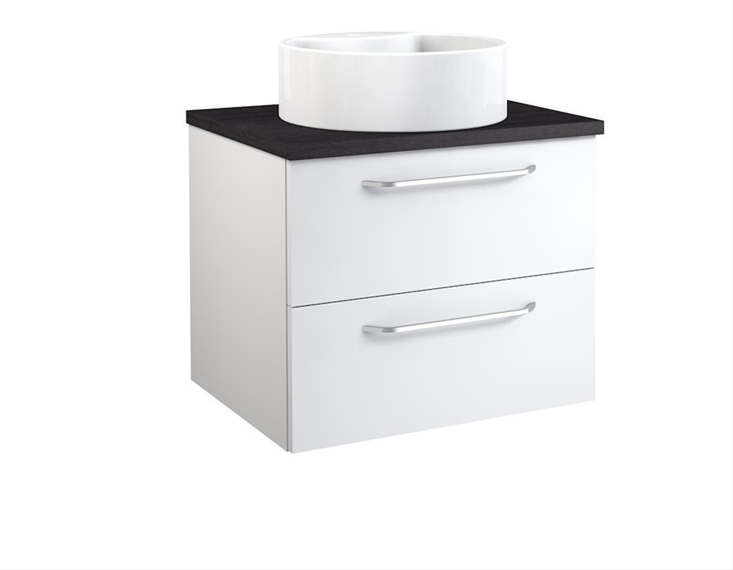 Bad Waschtischunterschrank mit Waschtischplatte und rundem Aufsatzbecken Luna 60 Weiß glänzend/Eiche schwarz Bild 1