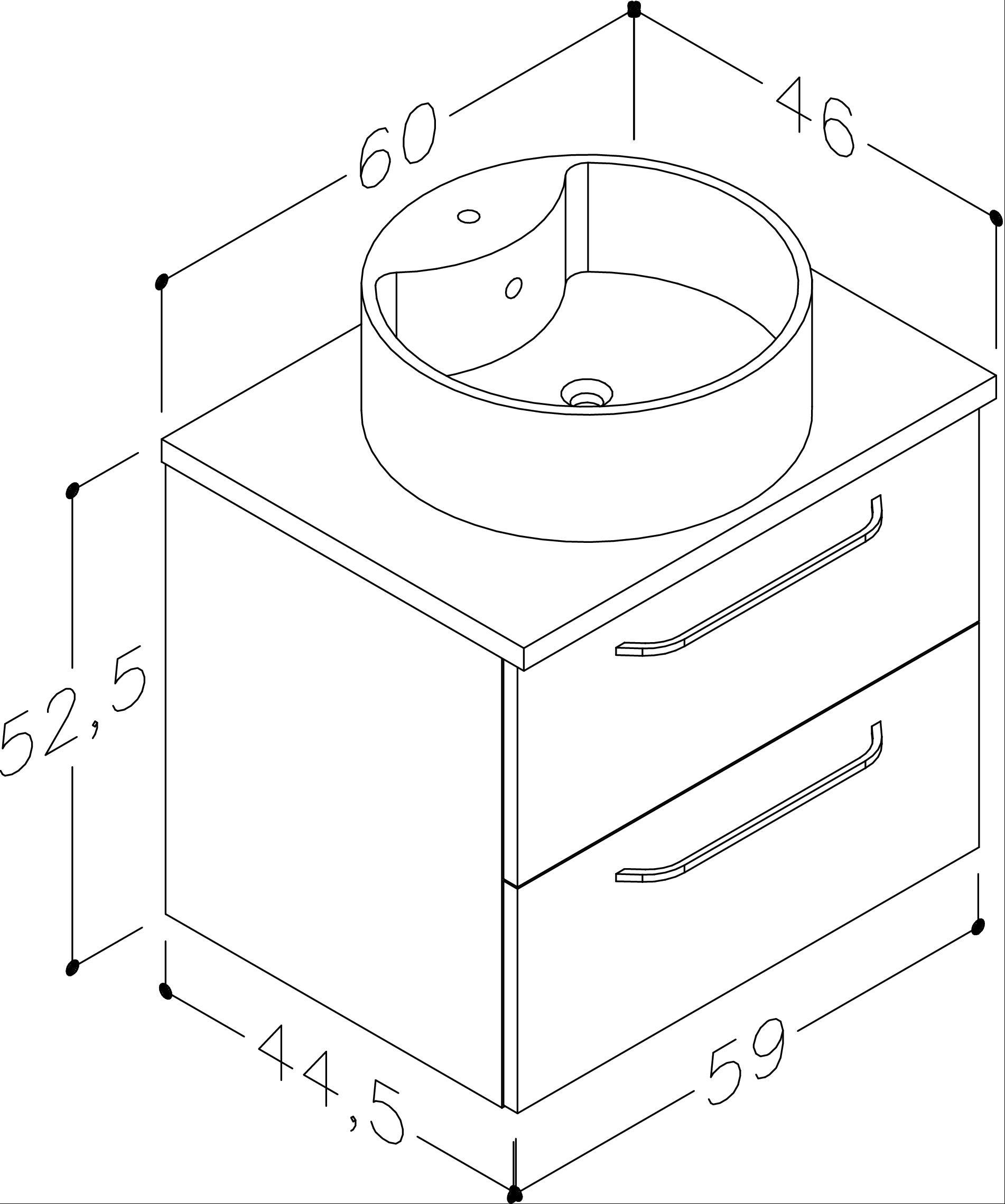 Bad Waschtischunterschrank mit Waschtischplatte und rundem Aufsatzbecken Luna 60 Weiß glänzend/Eiche schwarz Bild 2