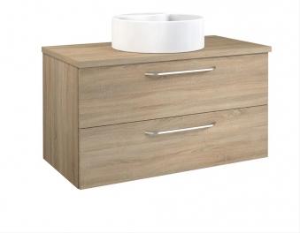Bad Waschtischunterschrank mit Waschtischplatte und rundem Aufsatzbecken Luna 90 Eiche bardolino Bild 1