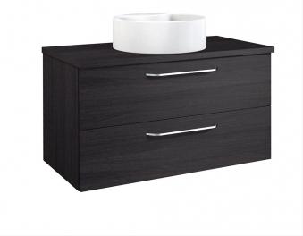 Bad Waschtischunterschrank mit Waschtischplatte und rundem Aufsatzbecken Luna 90 Eiche schwarz Bild 1