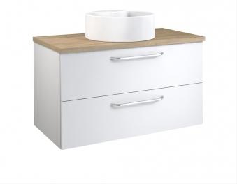 Bad Waschtischunterschrank mit Waschtischplatte und rundem Aufsatzbecken Luna 90 Weiß glänzend/Eiche bardolino Bild 1