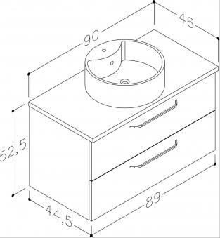 Bad Waschtischunterschrank mit Waschtischplatte und rundem Aufsatzbecken Luna 90 Weiß glänzend/Eiche bardolino Bild 2